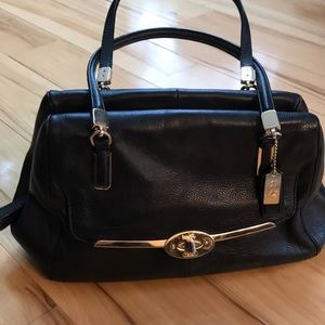 Coach black leather Madison satchel.  GUC